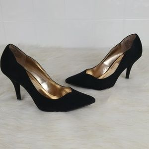 Jennifer Lopez size 7.5M black leather suede heels